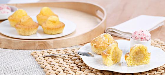 Muffins de platano con helado sin gluten de Proceli