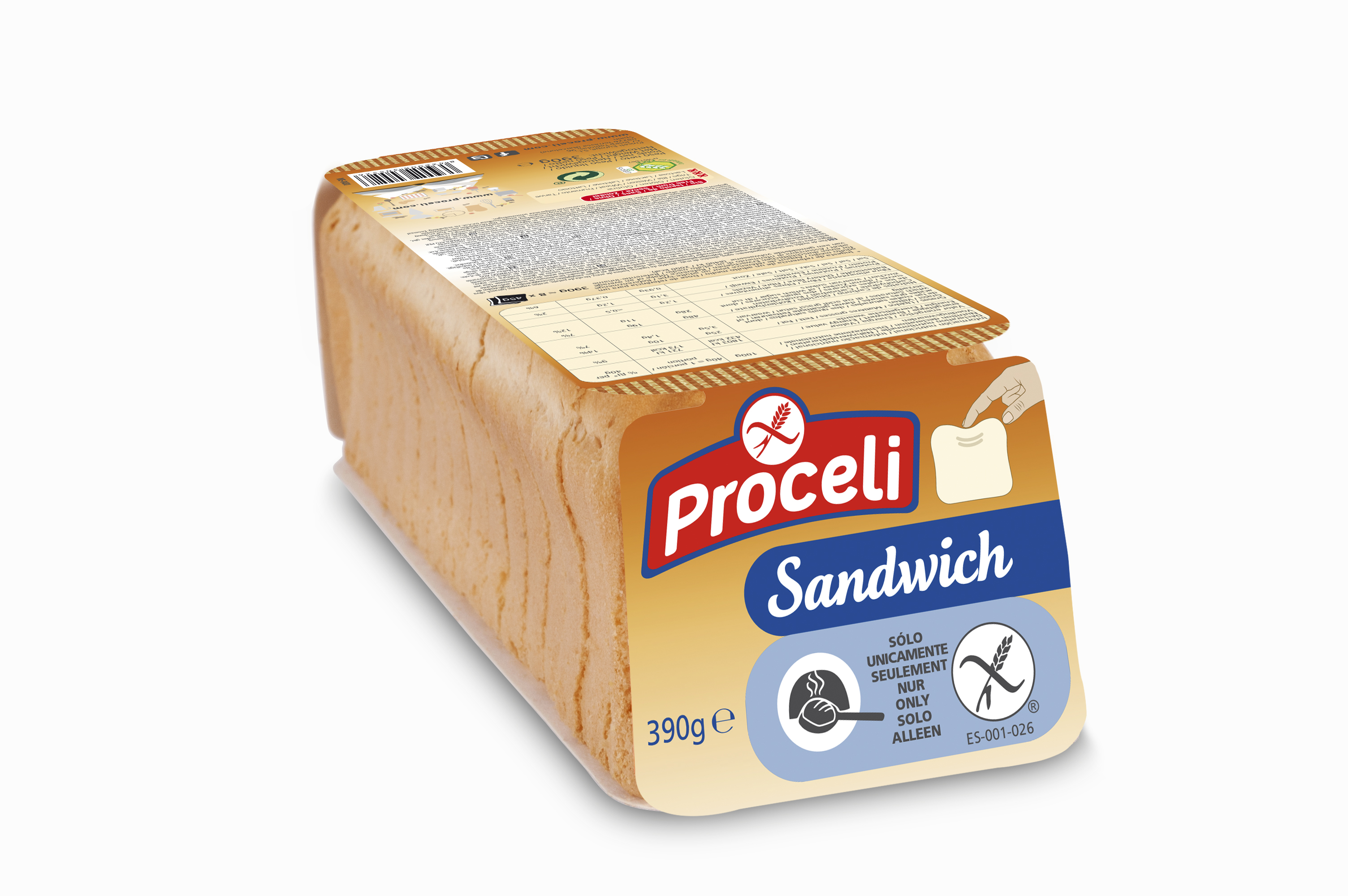 Sandwich pan molde sin gluten de Proceli