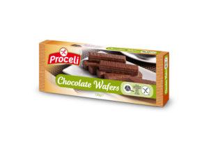 Chocolate wafers crujientes sin gluten de Proceli