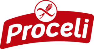 Logotipo en rojo sin gluten de Proceli