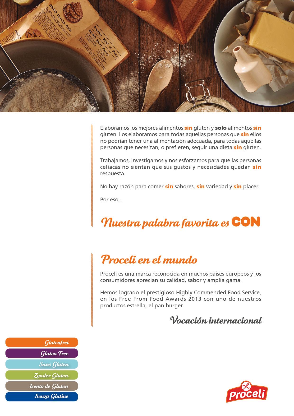 Alimentación sin gluten con Proceli